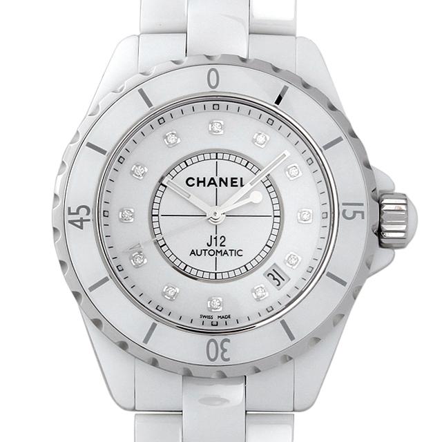 【48回払いまで無金利】シャネル J12 白セラミック 12Pダイヤ H1629 メンズ(0FHMCHAN0081)【新品】【腕時計】【送料無料】