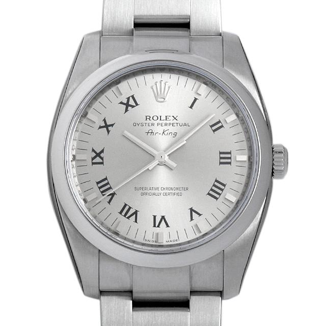 ロレックス オイスターパーペチュアル エアキング Z番 114200 グレー/プリントローマ メンズ(008KROAS0001)【未使用】【腕時計】【送料無料】