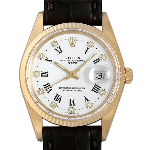 【48回払いまで無金利】SALE ロレックス オイスターパーペチュアル デイト 10Pダイヤ L番 15238G ホワイト メンズ(0445ROAU0002)【中古】【腕時計】【送料無料】