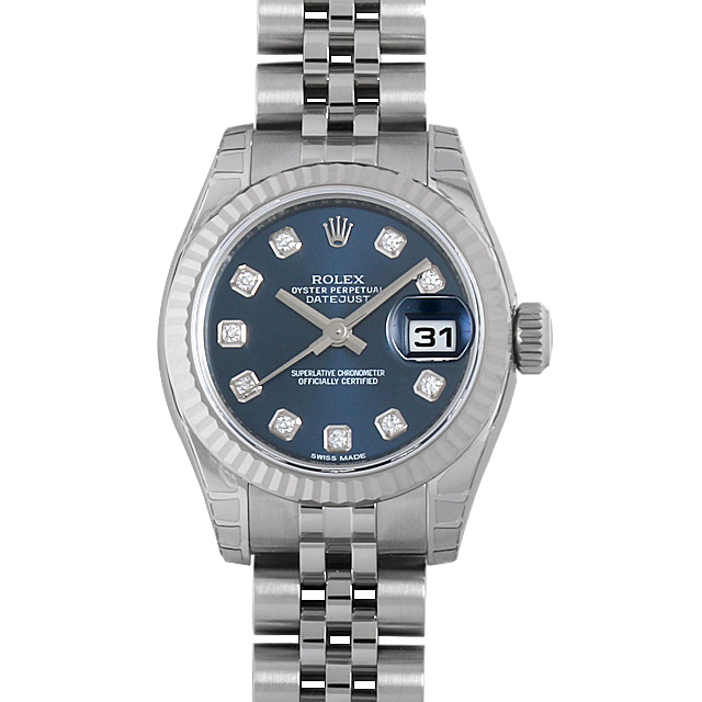 ロレックス デイトジャスト 10Pダイヤ 179174G ブルー レディース(07NDROAN0081)【新品】【腕時計】【送料無料】