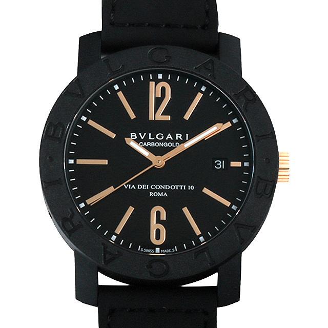 【48回払いまで無金利】ブルガリ ブルガリブルガリ カーボンゴールド BBP40BCGLD/N ブラック メンズ(0068BVAN0022)【新品】【腕時計】【送料無料】