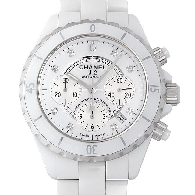 【48回払いまで無金利】シャネル J12 白セラミック クロノグラフ 9Pダイヤ H2009 メンズ(0064CHAN0034)【新品】【腕時計】【送料無料】