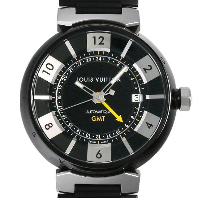 【48回払いまで無金利】ルイヴィトン タンブール イン ブラック GMT Q113K メンズ(006XLVAU0005)【中古】【腕時計】【送料無料】