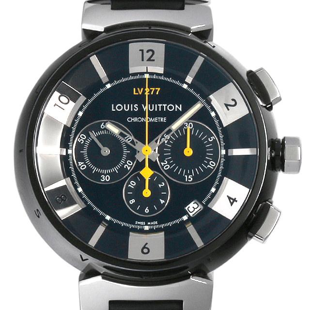 【48回払いまで無金利】ルイヴィトン タンブール イン ブラック クロノグラフ LV277 Q114K0 メンズ(007ULVAU0010)【中古】【腕時計】【送料無料】