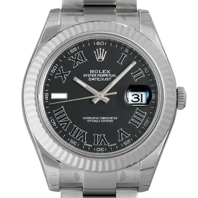 【48回払いまで無金利】ロレックス デイトジャストII ランダムシリアル 116334 ブラック/ローマ メンズ(09RTROAS0001)【中古】【未使用】【腕時計】【送料無料】