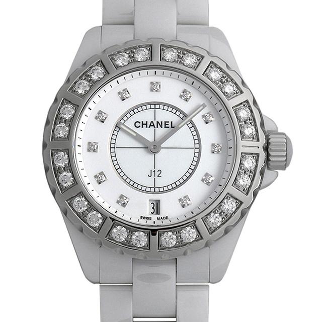 シャネル J12 白セラミック 11Pダイヤ ベゼルダイヤ H2430 メンズ(006XCHAU0018)【中古】【腕時計】【送料無料】
