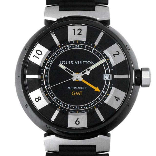 SALE ルイヴィトン タンブール インブラック GMT Q113K メンズ(009VLVAU0003)【中古】【腕時計】【送料無料】