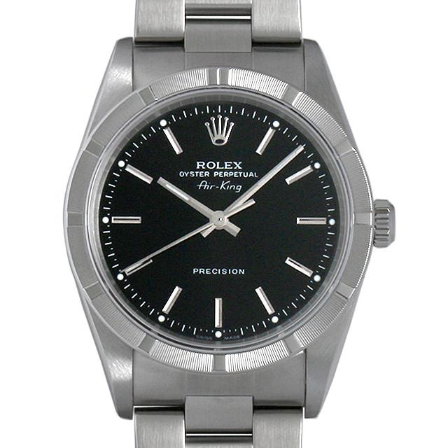 【48回払いまで無金利】ロレックス オイスターパーペチュアル エアキング D番 14010M ブラック/バー メンズ(0AIZROAU0001)【中古】【腕時計】【送料無料】