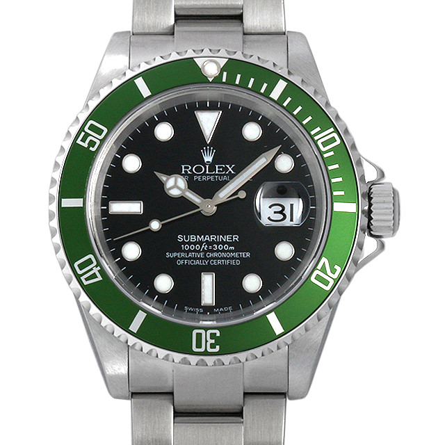 ロレックス サブマリーナ デイト F番 16610LV ファット4 ワイドスイス メンズ(0063ROAU0135)【中古】【腕時計】【送料無料】