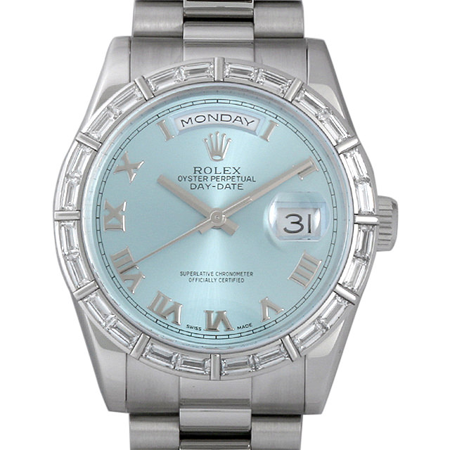 ロレックス デイデイト ベゼルバケットダイヤ K番 118366 アイスブルー メンズ(007UROAU0196)【中古】【腕時計】【送料無料】