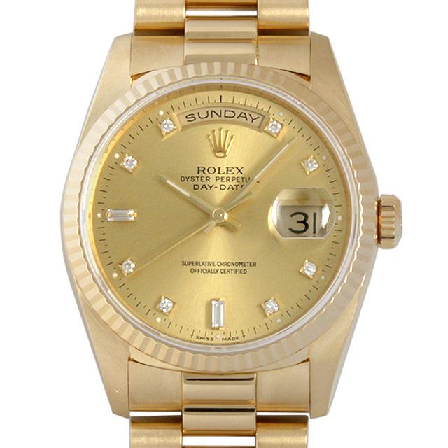 【48回払いまで無金利】SALE ロレックス デイデイト 10Pダイヤ E番 18238A シャンパン メンズ(007UROAU0201)【中古】【腕時計】【送料無料】