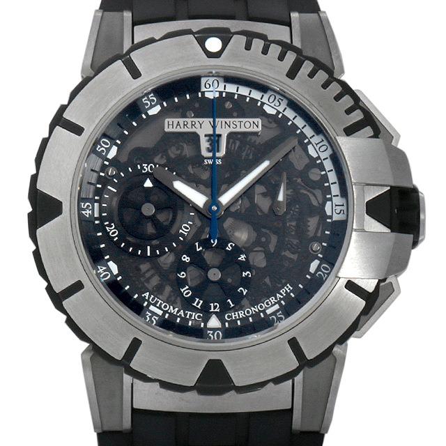 【48回払いまで無金利】ハリーウィンストン オーシャン スポーツ クロノグラフ OCSACH44ZZ002 メンズ(008KHWAU0004)【中古】【腕時計】【送料無料】