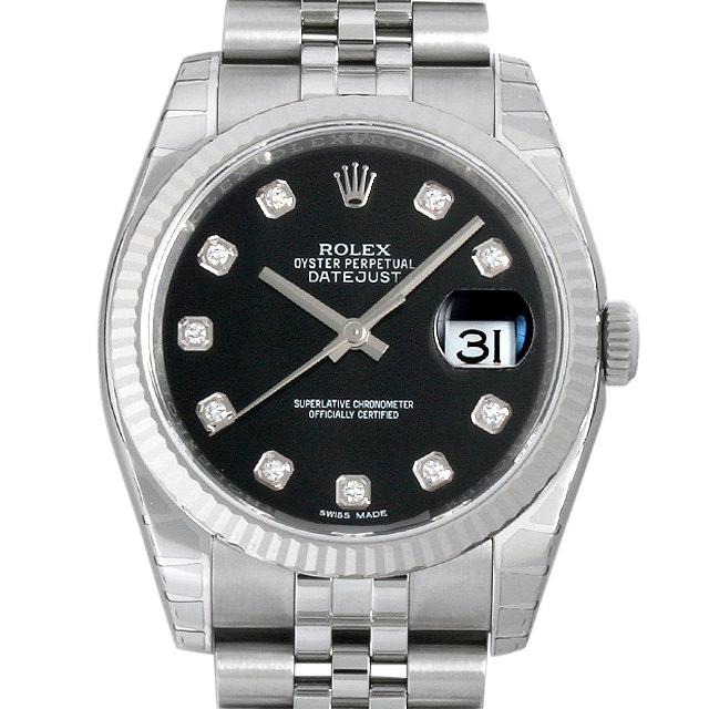 ロレックス デイトジャスト 10Pダイヤ 116234G ブラック メンズ(0018ROAR0053)【新品】【腕時計】【送料無料】
