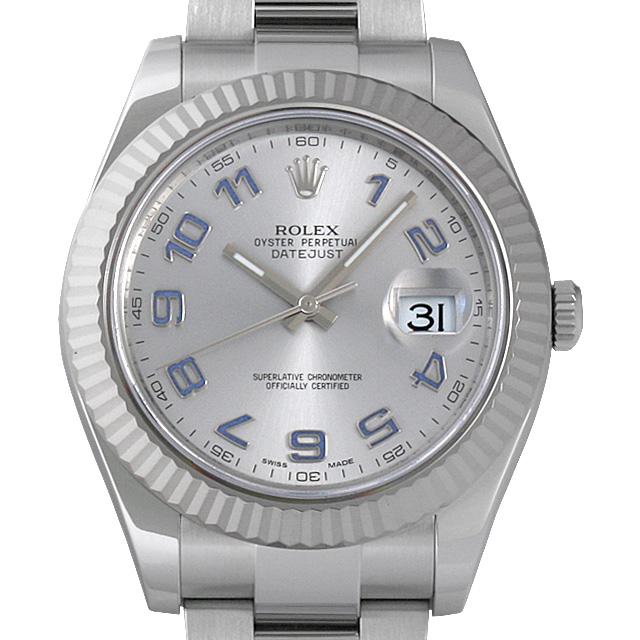 【48回払いまで無金利】ロレックス デイトジャストII ランダムシリアル 116334 シルバー/ブルーアラビア メンズ(0COYROAU0001)【中古】【腕時計】【送料無料】