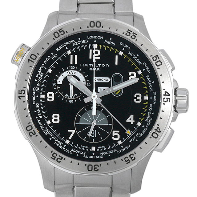 【48回払いまで無金利】ハミルトン カーキ アビエーション ワールドタイマー クロノグラフ H76714135 メンズ(006THMAN0009)【新品】【腕時計】【送料無料】