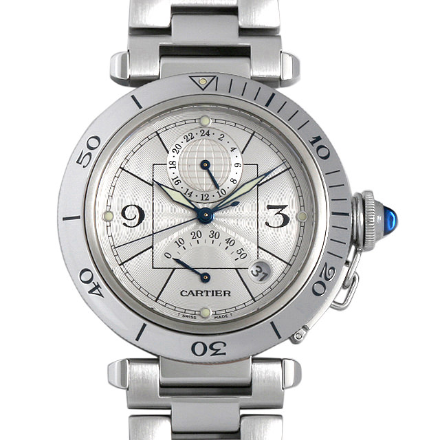 【48回払いまで無金利】カルティエ パシャ パワーリザーブ GMT W31037H3 メンズ(006XCAAU0102)【中古】【腕時計】【送料無料】