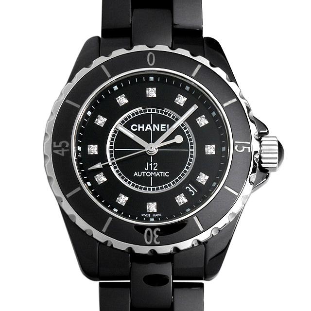 【48回払いまで無金利】シャネル J12 黒セラミック 12Pダイヤ H1626 メンズ(0DFJCHAU0001)【中古】【腕時計】【送料無料】