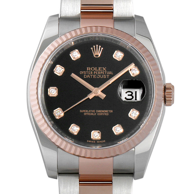 【48回払いまで無金利】ロレックス デイトジャスト 10Pダイヤ ランダムシリアル 116231G ブラック メンズ(006XROAU0529)【中古】【腕時計】【送料無料】