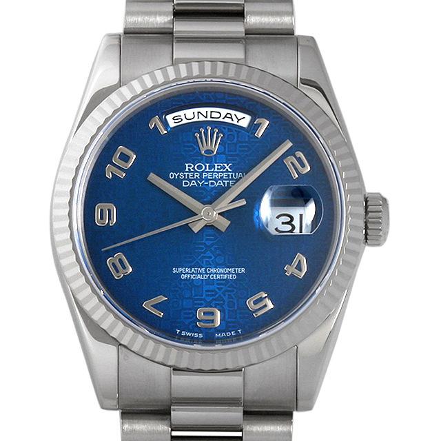 【48回払いまで無金利】ロレックス デイデイト D番 118239 ブルー彫りコンピューター/アラビア メンズ(006XROAU0550)【中古】【腕時計】【送料無料】