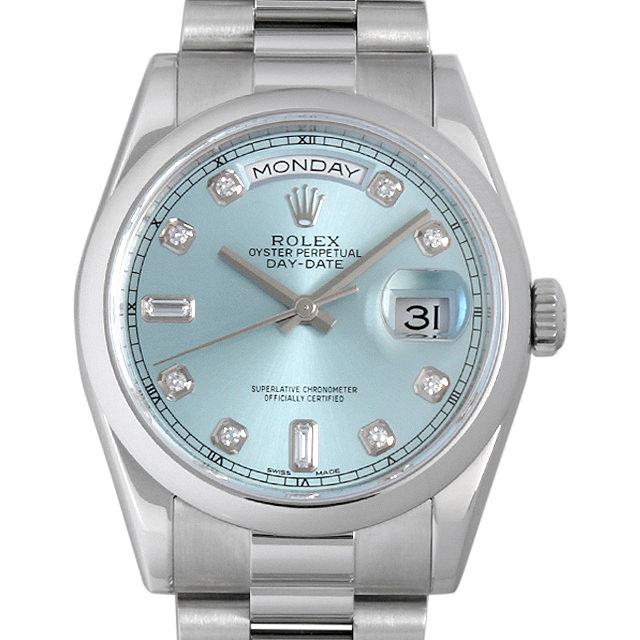 【48回払いまで無金利】ロレックス デイデイト 10Pダイヤ ランダムシリアル 118206A アイスブルー メンズ(0D5FROAU0001)【中古】【腕時計】【送料無料】