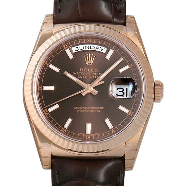 【48回払いまで無金利】ロレックス デイデイト 118135 チョコレートブラウン メンズ(008WROAN0011)【新品】【腕時計】【送料無料】