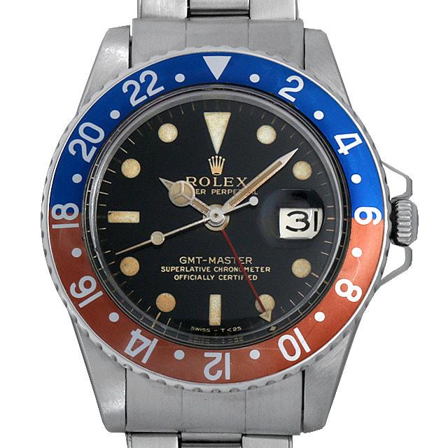 【48回払いまで無金利】SALE ロレックス GMTマスター 18番 1675 ブラックミラー/小針 エクステンションUSリベットブレス メンズ(007UROAA0047)【アンティーク】【腕時計】【送料無料】