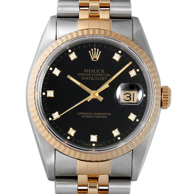 【48回払いまで無金利】ロレックス デイトジャスト 10Pダイヤ X番 16233G ブラック メンズ(009VROAU0165)【中古】【腕時計】【送料無料】