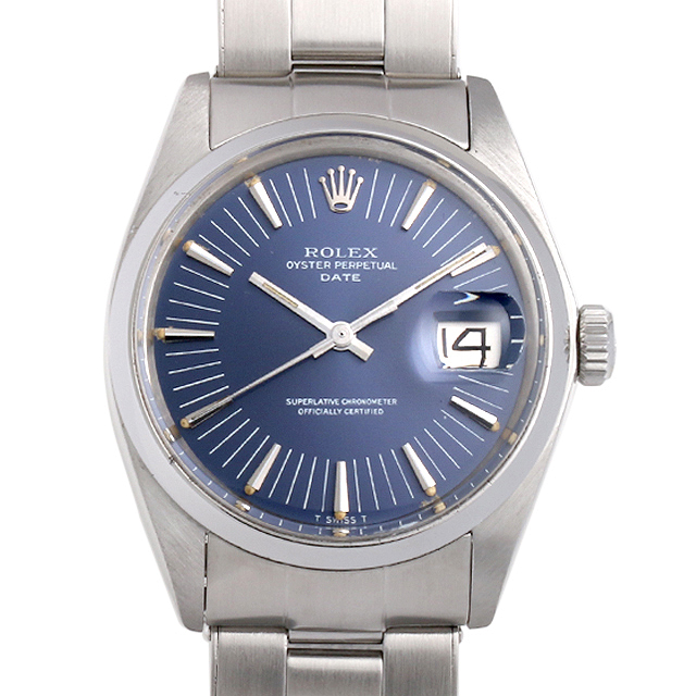 【48回払いまで無金利】ロレックス オイスターパーペチュアル デイト 27番 1500 ブルー/バー メンズ(006TROAA0002)【アンティーク】【腕時計】【送料無料】