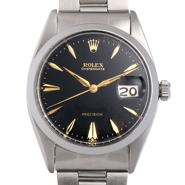 【48回払いまで無金利】ロレックス オイスターデイト Cal.1215 6494 ブラック/クサビ メンズ(006XROAA0088)【アンティーク】【腕時計】【送料無料】