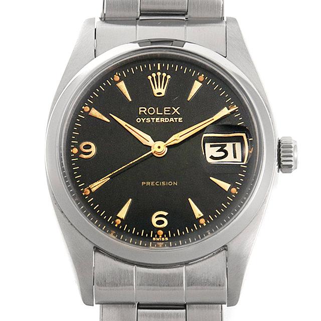 【48回払いまで無金利】ロレックス オイスターデイト Cal.1215 6494 ブラックミラー/クサビ メンズ(007UROAA0059)【アンティーク】【腕時計】【送料無料】