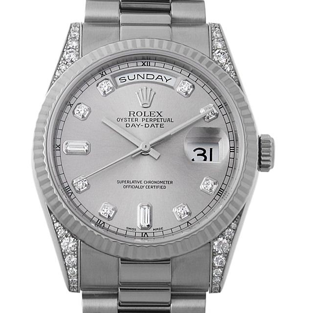 【48回払いまで無金利】ロレックス デイデイト 10Pダイヤ ラグダイヤ K番 118339A グレー メンズ(006XROAU0598)【中古】【腕時計】【送料無料】