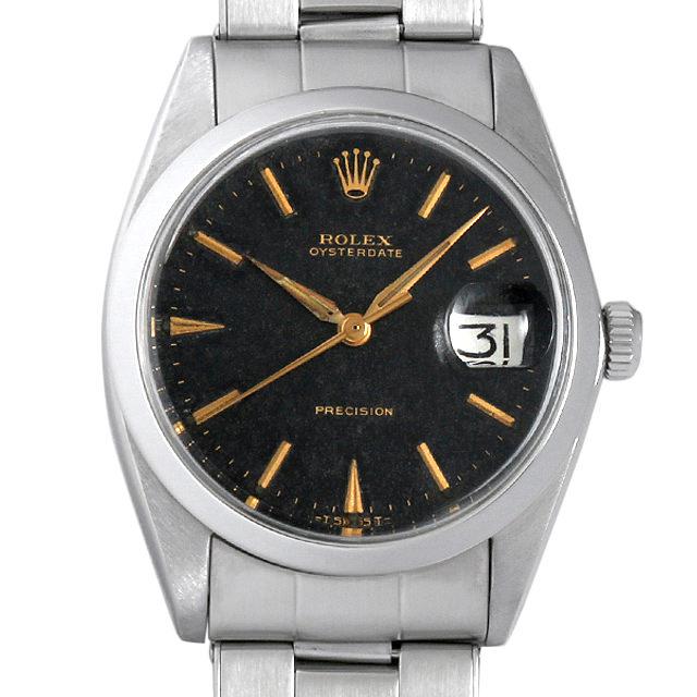 【48回払いまで無金利】ロレックス オイスターデイト プレシジョン Cal.1225 11番 6694 ブラックミラー メンズ(008WROAA0030)【アンティーク】【腕時計】【送料無料】