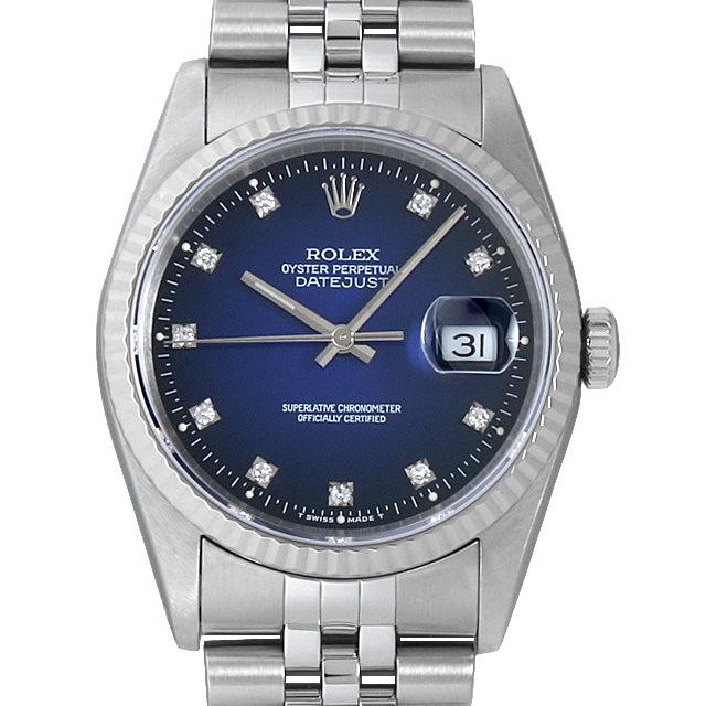 【48回払いまで無金利】ロレックス デイトジャスト 10Pダイヤ X番 16234G ブルーグラデーション メンズ(0DF7ROAU0004)【中古】【腕時計】【送料無料】
