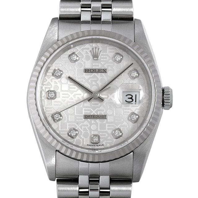 【48回払いまで無金利】ロレックス デイトジャスト 10Pダイヤ F番 16234G シルバー彫りコンピューター メンズ(001HROAU0188)【中古】【腕時計】【送料無料】