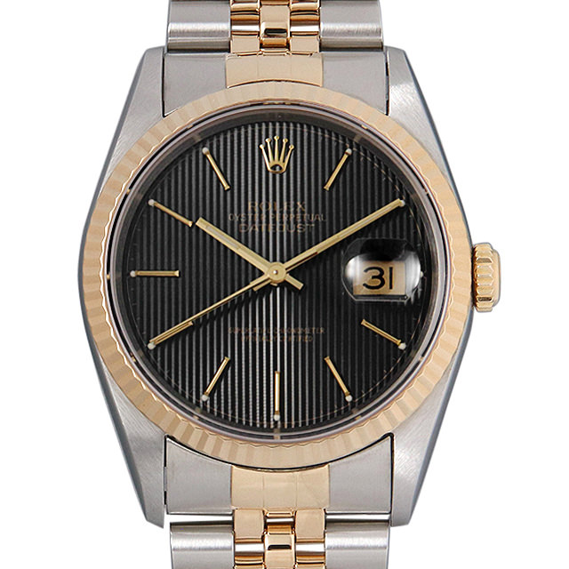 ロレックス デイトジャスト S番 16233 ブラックタペストリー/バー メンズ(0063ROAU0193)【中古】【腕時計】【送料無料】