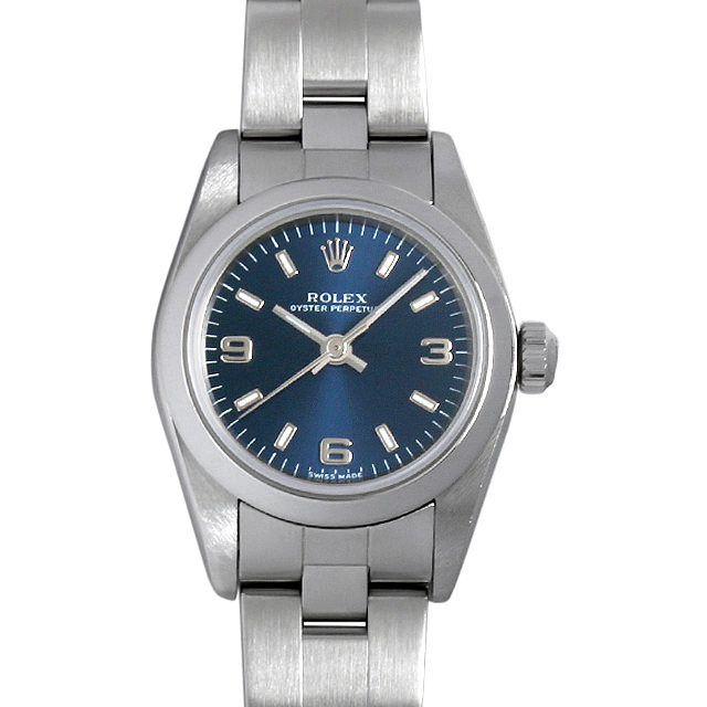 【48回払いまで無金利】ロレックス オイスターパーペチュアル A番 76080 ブルー/369 レディース(006XROAU0621)【中古】【腕時計】【送料無料】