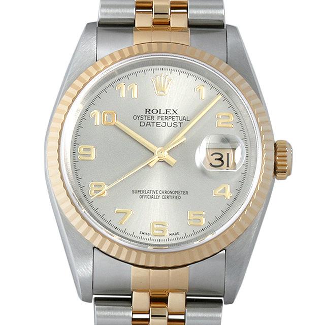 【48回払いまで無金利】ロレックス デイトジャスト Y番 16233 グレー/アラビア メンズ(008KROAU0098)【中古】【腕時計】【送料無料】