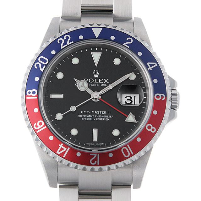 【48回払いまで無金利】ロレックス GMTマスターII 赤青ベゼル D番 16710 スティックダイアル メンズ(0087ROAU0139)【中古】【腕時計】【送料無料】