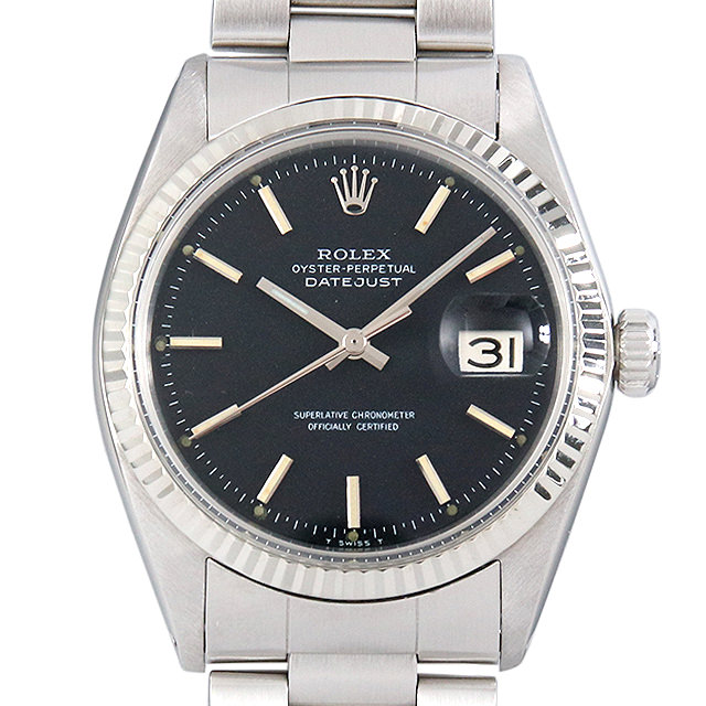 【48回払いまで無金利】ロレックス デイトジャスト Cal.1570 19番 1601 ブラック/バー メンズ(0445ROAA0001)【中古】【アンティーク】【腕時計】【送料無料】