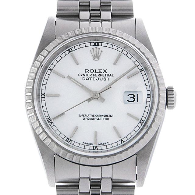 【48回払いまで無金利】ロレックス デイトジャスト X番 16220 ホワイト/バー メンズ(083QROAU0001)【中古】【腕時計】【送料無料】