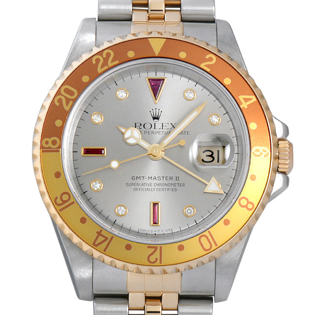 【48回払いまで無金利】ロレックス GMTマスターII 8Pダイヤ/3Pルビー D番 16713RG グレー メンズ(0EJDROAU0001)【中古】【腕時計】【送料無料】