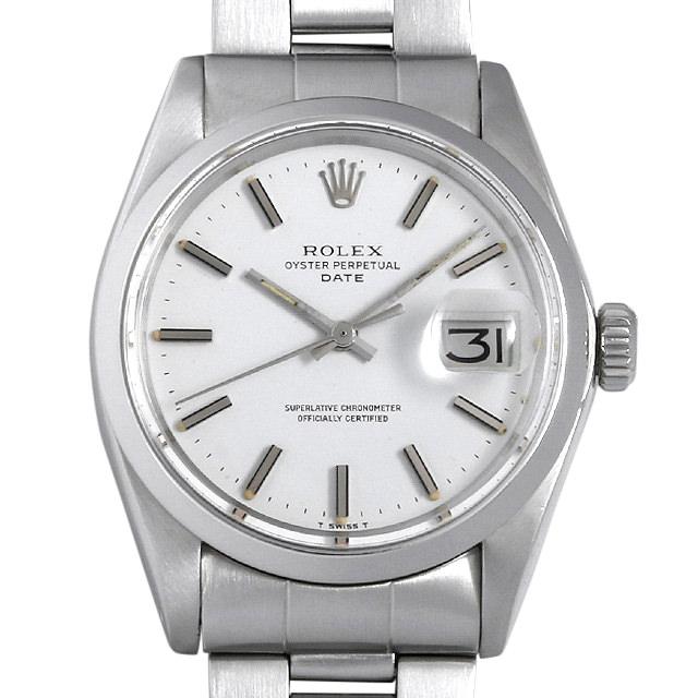 【48回払いまで無金利】SALE ロレックス オイスターパーペチュアル デイト 34番 1500 ホワイト/バー メンズ(006XROAA0101)【アンティーク】【腕時計】【送料無料】