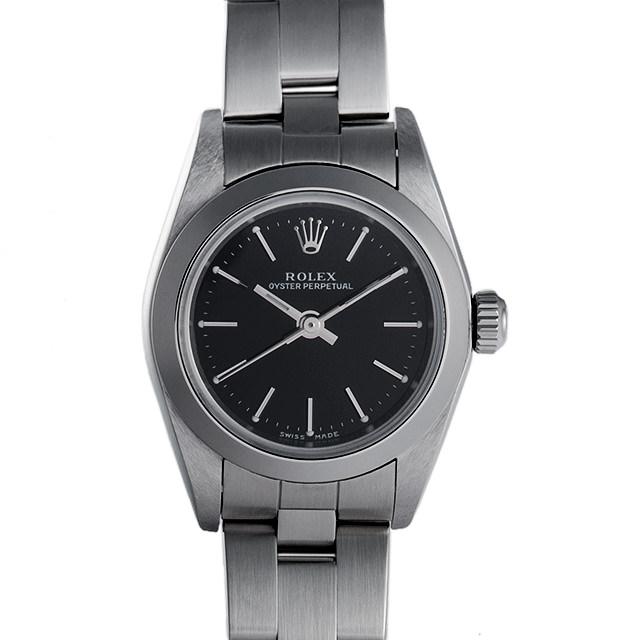 SALE ロレックス オイスターパーペチュアル F番 76080 ブラック/バー レディース(0050ROAU0059)【中古】【腕時計】【送料無料】