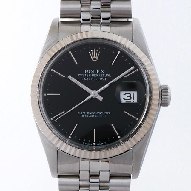 【48回払いまで無金利】ロレックス デイトジャスト R番 16014 ブラック/バー メンズ(006XROAU0686)【中古】【腕時計】【送料無料】