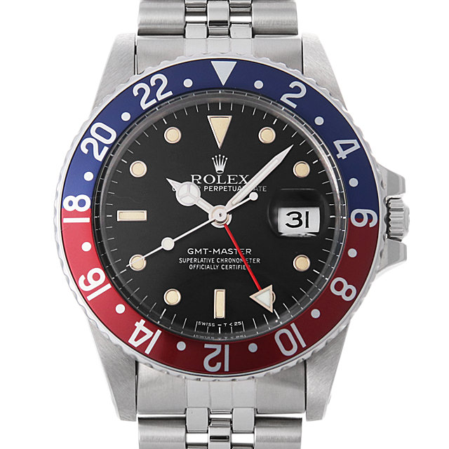 【48回払いまで無金利】ロレックス GMTマスター 赤青ベゼル 83番 16750 フチあり ジュビリーブレス メンズ(006XROAU0705)【中古】【腕時計】【送料無料】