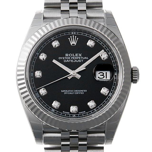 【48回払いまで無金利】ロレックス デイトジャスト41 10Pダイヤ 126334G ジュビリーブレス ブラック メンズ(0066ROAN0117)【新品】【腕時計】【送料無料】