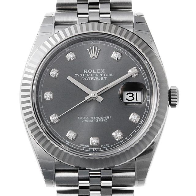 【48回払いまで無金利】ロレックス デイトジャスト41 10Pダイヤ 126334G ジュビリーブレス ダークロジウム メンズ(0066ROAN0115)【新品】【腕時計】【送料無料】