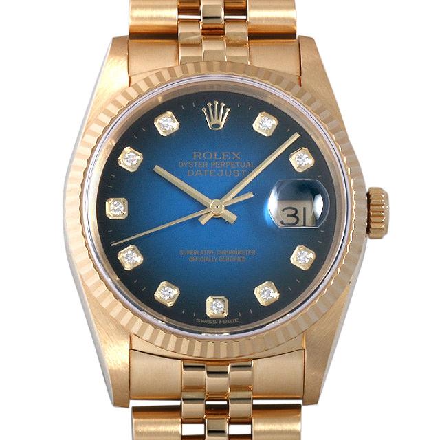 【48回払いまで無金利】ロレックス デイトジャスト 10Pダイヤ K番 16238G ブルーグラデーション メンズ(0063ROAU0211)【中古】【腕時計】【送料無料】