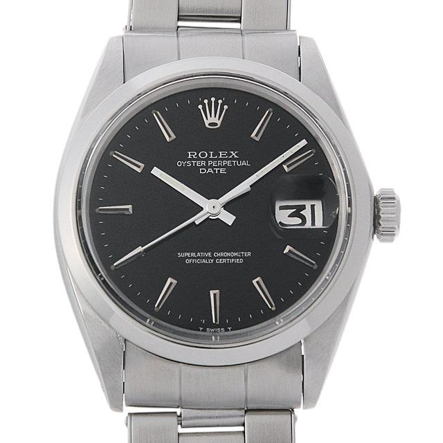 【48回払いまで無金利】ロレックス オイスターパーペチュアル デイト 23番 1500 ブラック/バー メンズ(008FROAA0006)【アンティーク】【腕時計】【送料無料】