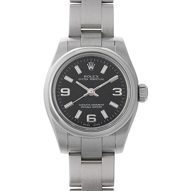 【48回払いまで無金利】ロレックス オイスターパーペチュアル M番 176200 ブラック/369ホワイトバー レディース(008WROAU0221)【中古】【腕時計】【送料無料】